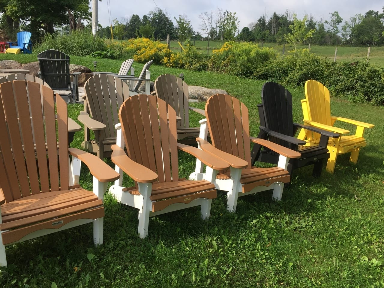Multiple colours of adirondack deluxe chairs